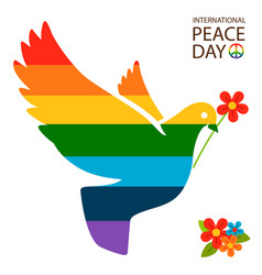 rainbow dove with flower vector image