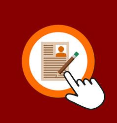 resume with pencil icon edit profile concept hand vector image