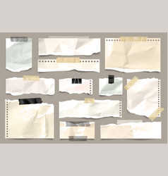Ripped colored crumpled paper strips collection vector