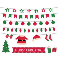 Santa clothes bunting and christmas lights vector