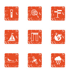 Satellite weather icons set grunge style vector