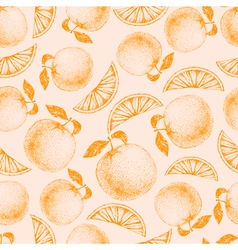 Seamless orange pattern Fresh fruit sketch vector