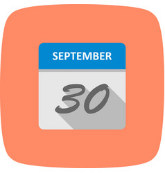 September 30th date on a single day calendar vector