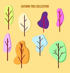 set color trees in a flat style vector image