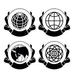 set emblems globes vector image