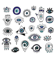 Set evil eyes and fatima hands icons cartoon vector