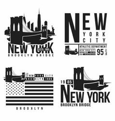 set new york brooklyn bridge typography vector image