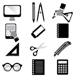 Set of Black Education Icons vector image