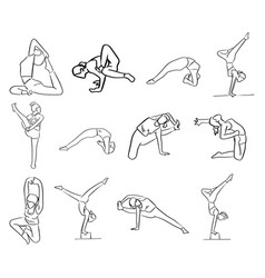 Set of women doing yoga in different poses vector
