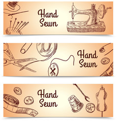 Sewing banners set vector
