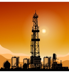 Silhouette Drilling Rigs vector image