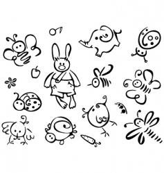 Silhouettes cute animals vector