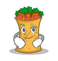 Smirking kebab wrap character cartoon vector
