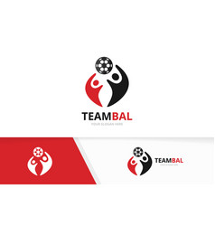Soccer and people logo combination ball vector