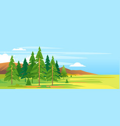 Spruce forest mountain landscape background vector
