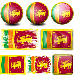 Sri Lanka flag on different objects vector image