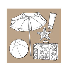 summer time vacation attributes - umbrella vector image
