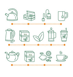 tea time linear icons vector image