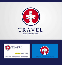 Travel switzerland creative circle flag logo and vector