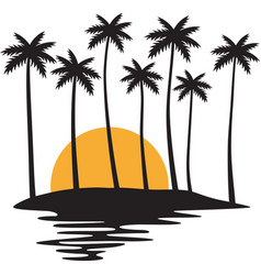 tropical island with palms and sunset vector image