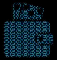 Wallet composition icon of halftone spheres vector