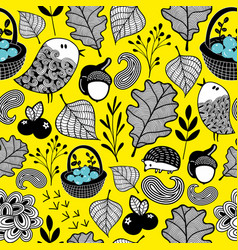 Wallpaper pattern with autumn forest vector