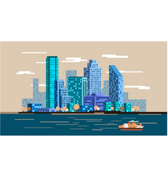 Waterfront city skyline vector