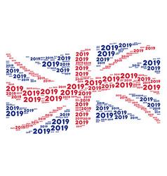 waving british flag mosaic of 2019 year text icons vector image