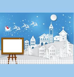 winter holiday with home santa claus and photo vector image