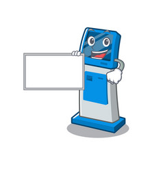 With board digital information cartoon kiosk above vector
