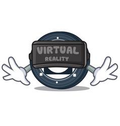 With virtual reality byteball bytes coin mascot vector