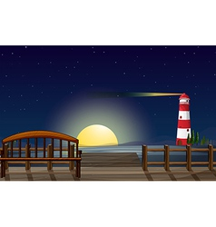 A port with a view of the parola vector image vector image