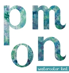 Green-blue watercolor font MNOP vector image vector image
