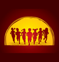 group of children running together graphic vector image vector image