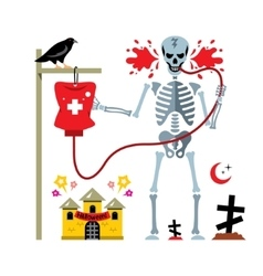 Halloween Skeleton and dropper Cartoon vector image