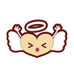 Line color sleeping heart angel kawaii with arms vector