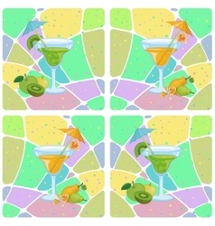 Seamless glasses with cocktail and fruits vector image vector image