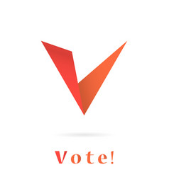 v letter icon elections concep vector image vector image