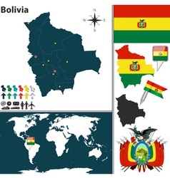 Bolivia map world vector image vector image