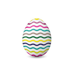 colorful easter egg isolated on the white vector image vector image
