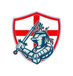 English Knight Full Armor With Sword Retro vector image