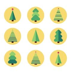 Flat design christmas tree set vector image vector image
