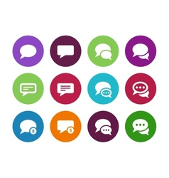 Message bubble circle icons on white background vector image