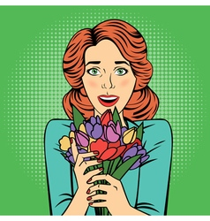 Pop art beautiful woman with bunch of flowers vector