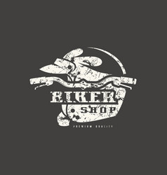biker shop badge with shabby texture vector image