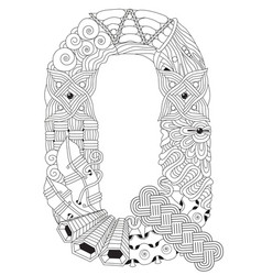 letter q for coloring decorative zentangle vector image