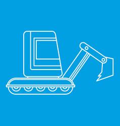 Mini excavator icon outline vector