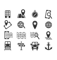 Navigation ransport map icon set vector