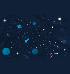 Space flat background with planets and stars vector