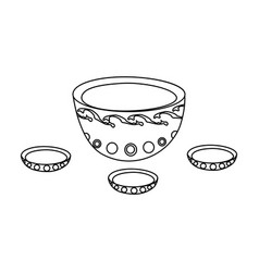 a plate with three cups and mongolian ornaments vector image